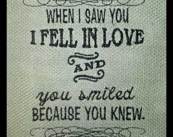 custom burlap burlap print sentimental quote inspirational