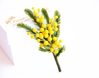 Brooch polymer clay flower. Sprig with mimosa. Flower  accessories. For women. Jewelry, brooch, gift, 2014 trends