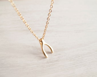 Wishbone Necklace - Gold Necklace - Gift for Her
