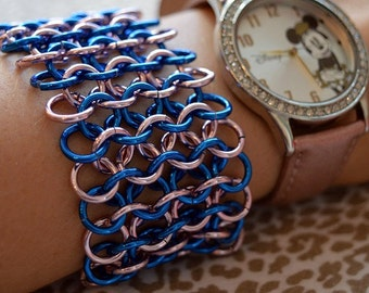 Blue and Pink Chainmaille Cuff