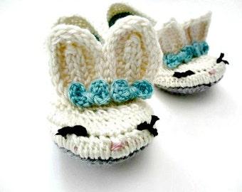 Women's Bunny Slippers - Crochet - Cream Blue Gray - Bows - Sizes 4 5 6 7 8 9 10 11 -