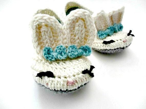 Free Crochet Patterns Bunny Slippers : Womens Bunny Slippers Crochet Cream Blue Gray Bows