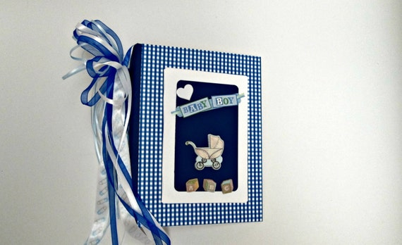 Baby Boy Photo Album - Brag Book -  Baby Boy Scrapbook in Blue and White Checked Pattern