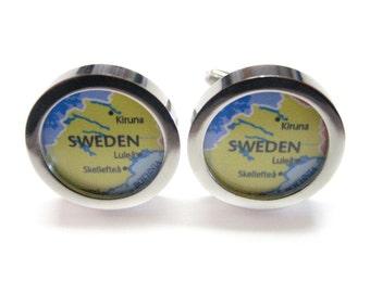 Sweden Map Pendant Cufflinks
