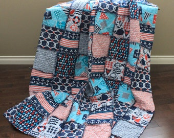 Twin Size Rag Quilt, Michael Miller Ahoy Collection, Boy Rag Quilt, Twin Quilt, Nautical, Ready To Ship