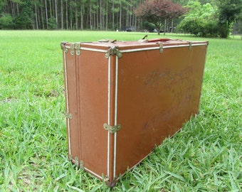 VINTAGE SUITCASE, Metal Trunk, metal suitcase, Mid Century Luggage, Travel Bag,brown