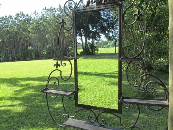 Grand miroir miroir chic minable miroir en fer forg for Miroir fer forge noir