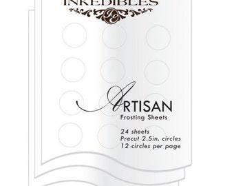 Inkedibles Artisan Frosting Sheets 24 sheets: Precut 2.5 inch circles (12 circles per sheet)