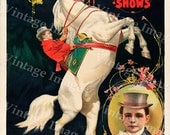 Vintage Circus Poster 1899 Ringling Bros Circus greatest show on earth  Carnival Poster Child's Game Room Fine Art Print home wall decor