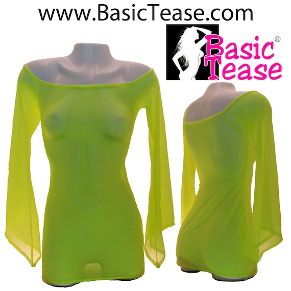 Mesh Off Shoulder Dress with Wizard Sleeves Cover Up For Exotic Dancers or Strippers