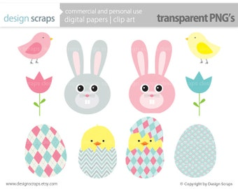 easter clip art graphics, chick bunny flowers eggs digital clipart baby personal and commercial use - easter charlotte  - INSTANT DOWNLOAD