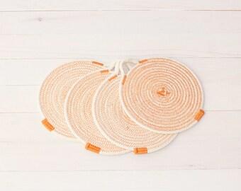 Set of 4 Orange Cotton Sash Cord Trays