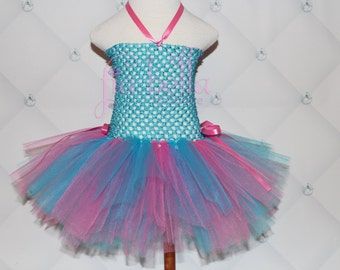 TUTU DRESS...Turquoise and Pink Tutu Dress...Newborn Tutu...Baby Tutu...Toddler Tutu...Cakesmash Tutu...Birthday Tutu...Summer Dress
