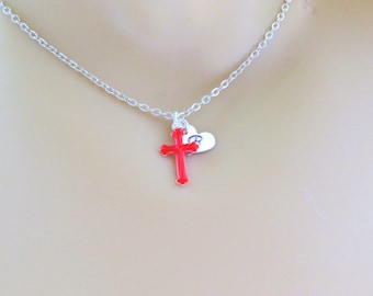 BAPTISM GIFT CROSS Necklace, Personalized Jewelry, Religious Gift, Religious Necklace, Confirmation,Hand Stamped Christian Jewelry