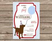 Dog Preppy Birthday Balloon Invitation