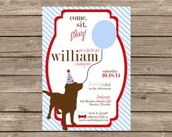 Dog Preppy Birthday Balloon Invitation