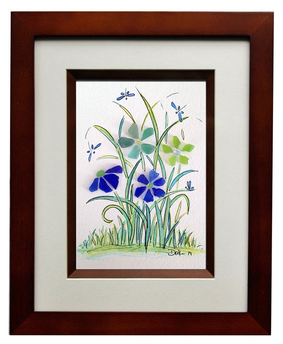 Sea Glass Flowers And Dragonfly S 8x10 Frame