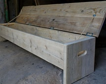 Our original storage box and bench. Rustic but industrial, or just futurustic!