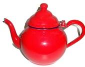 Vintage red metal teapot, 1940's