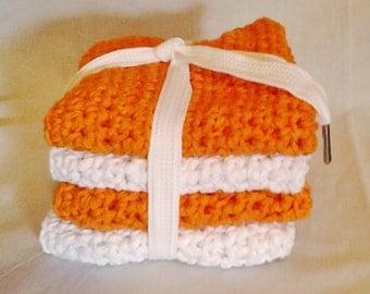 Crochet Team Spirit Wash Cloths/Dish Cloths Orange and White