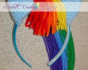 My Little Pony- Rainbow Dash Inspired Crochet Ears Headband
