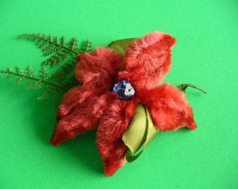 Vintage, Christmas, Poinsettia Corsage, Chenille, Plastic