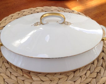 Vintage White and Gold Old Abbey Limoges Covered Serving Bowl with Lid