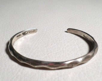 Vintage Sterling Silver Thin Cuff Bracelet, Marked JSH 925 & Anchor Symbol, 15+g