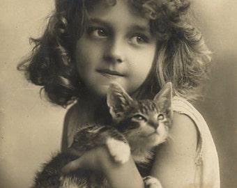 Young Girl, dress, sepia- cat- kitten- Photo Print