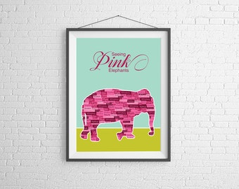 Pink Elephants - Wall Art Illustration - Drinking Print - Cocktail Art - Retro Illustration - Bar Decor - Bar Art - Cocktail Poster