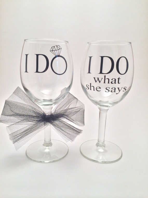 How Many Wine Glasses For Wedding Gift : ... She Says Funny Wedding Wine Glasses, Engagement Gift, Wedding Gift