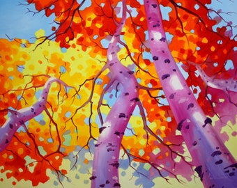 BIRCH TREES SKY - Aceo Art Print from Original Oil Painting, Abstract, Nature, Modern Wall Art