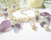 Sterling Silver Charm Bracelet. Amethyst Gemstone and Swarovski Crystal. Wedding.