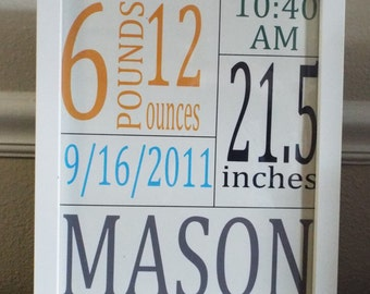 Custom Birth Dates Printable, Nursery Art, Kids Wall Art 8x10 or 5x7,