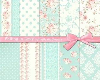 """Shabby chic digital paper : """"FALLING IN LOVE"""" pink and blue digital paper in shabby chic style, rose digital paper, floral digital paper"""