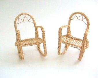Miniature Rocking Chairs, Dollhouse Rocking Chairs, Wicker Rocking Chairs, Rocking Chairs, Miniature Wicker Furniture, Dollhouse Furniture