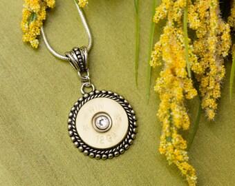 Shotgun Bullet Casing Jewelry - Double Beaded Bullet Necklace (12 Gauge)