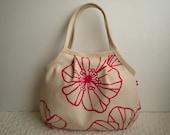 NEW* Small Granny Bag - Natural color - floral - Japanese fabric - red - dots - tote bag - hand bag