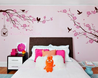 Nursery wall Decal Wall Sticker Kids Vinyl Decals-Cherry Blossoms Tree Decal Birdcage-DK130