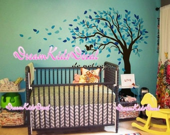Cherry Blossom Tree wall decals nursery wall decals children girl baby wall decals wall sticker wall decor-squirrel sit on Tree DK137