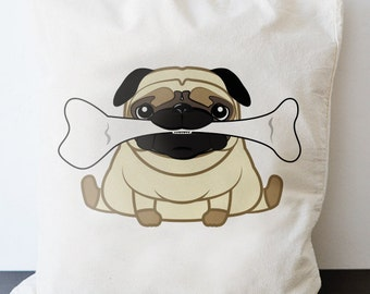 Strong Baby Pug - bag - long handle shopping puppy