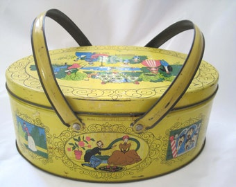 Vintage Tin with Handles, Folk Art, Yellow Oval Biscuit Tin, Double Swivel Handles, Cute Victorian Scenes, Lunch Basket Tin, Large Tin