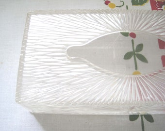 Retro 1960s Clear Plastic Tissue Holder Celebrity Starburst Design, Vintage Tissue Box