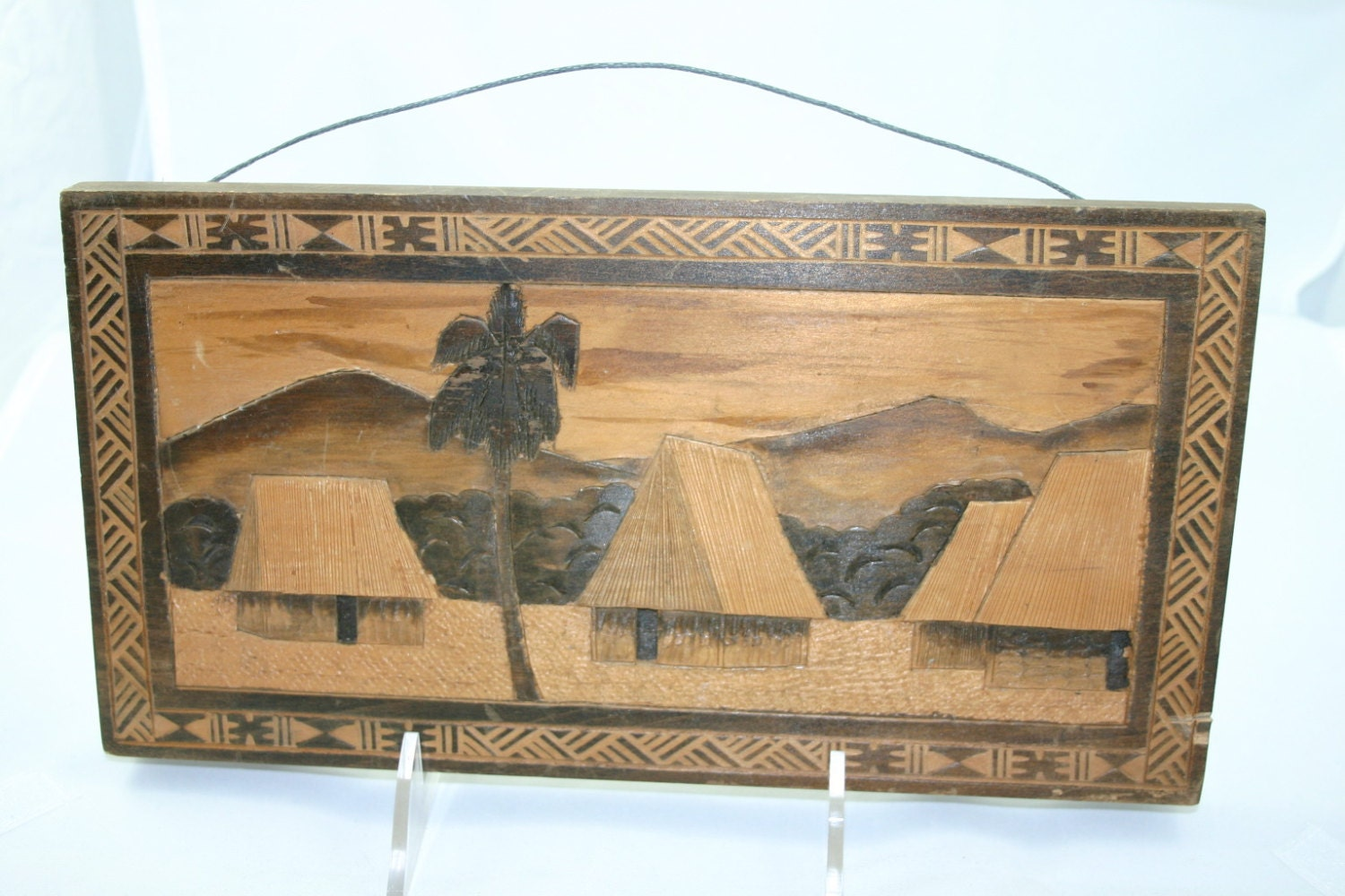 Vintage Hand Carved Wooden Plaque From Fiji Signed And Dated