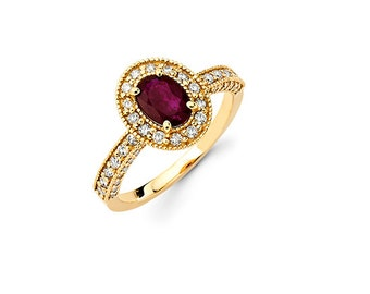 14K Yellow Gold Diamond Ring w/ Ruby Stone, Yellow Gold Ring, Diamond Ring, Ruby Ring, Engagement Ring, Promise Ring, Fancy Ring
