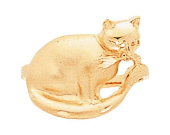 14k gold cat ring.