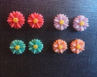 Charming Handcrafted Daisy Magnetic Earrings in Choice of Colors!