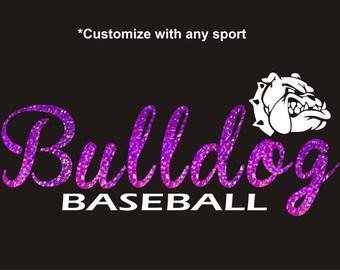 Bulldog Mascot Iron On Bling Transfer Mascot Bulldogs School Mascot Baseball Softball Soccer Football High School