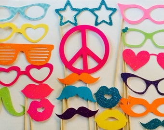 20 Piece Neon photobooth, Photo Booth Props, Mustaches and Lips, Props on a Stick, Wedding Photobooth, Photo Booth