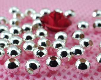 1000 pcs of Silver plated  round  Spacer beads  in 3mm